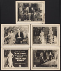 """Thoughtless Women (Pioneer, 1920). Title Lobby Card and Lobby Cards (4)(11"""" X 14""""). Drama. ... (Total: 5 Items..."""