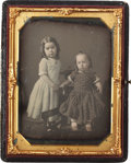 Photography:Daguerreotypes, Half Plate Daguerreotype: Portrait of Two Cute Little Girls, Circa1853....