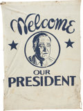 Political:Textile Display (1896-present), Franklin D. Roosevelt: Unusual Large Dark Blue and White ClothBanner. ...