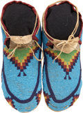 American Indian Art:Beadwork and Quillwork, A PAIR OF PLAINS CREE BEADED HIDE MOCCASINS. c. 1890... (Total: 2Items)