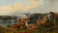 Fine Art - Painting, European:Antique  (Pre 1900), PROPERTY OF A LADY. JOHN W. MORRIS (British, 1865-1924). Deer in Landscape, 1881. Oil on canvas. 24 x 42 inches (6...