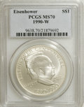 Modern Issues: , 1990-W $1 Eisenhower Silver Dollar MS70 PCGS. PCGS Population (18/0). NGC Census: (92/0). Mintage: 241,669. Numismedia Wsl....