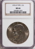 Eisenhower Dollars: , 1976-D $1 Type One MS66 NGC. NGC Census: (175/6). PCGS Population (203/2). Mintage: 21,048,710. Numismedia Wsl. Price for N...