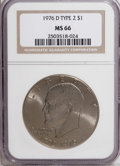 Eisenhower Dollars: , 1976-D $1 Type Two MS66 NGC. NGC Census: (206/9). PCGS Population (664/22). Mintage: 82,179,568. Numismedia Wsl. Price for ...