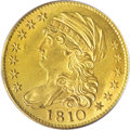 Early Half Eagles, 1810 $5 Large Date, Large 5 MS64 PCGS....