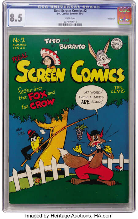 Real Screen Comics #2 Vancouver pedigree (DC, 1945) CGC VF+ 8.5 White pages....