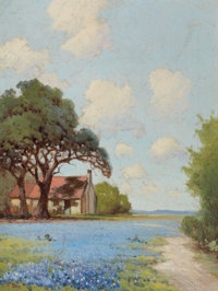 ROBERT WILLIAM WOOD (American, 1889-1979) Country Landscape with Bluebonnets Oil on canvas 16 x 1