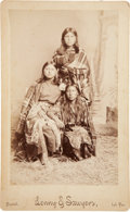 American Indian Art:Photographs, THREE YOUNG KIOWA WOMEN and CADDO DANCING CHIEFS. c. 1887...(Total: 2 Items)
