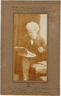 "Autographs:Authors, Samuel Clemens (""Mark Twain"") Albumen Signed ""Mark Twain""and ""S. L. Clemens"", with quotation and se..."