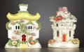 Ceramics & Porcelain, British:Antique  (Pre 1900), TWO ENGLISH PASTILLE BURNERS . Staffordshire, England, circa 1890 and later. Unmarked. 6-1/8 inches high (15.6 cm). ... (Total: 3 Items)