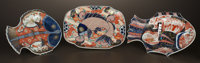 THREE JAPANESE IMARI PORCELAIN PLATES Japan, late 19th Century Unmarked 1-3/4 x 14-1/2 x 8-3/4 inches (4.4