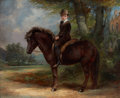 Fine Art - Painting, European:Antique  (Pre 1900), PROPERTY OF A LADY. ARTHUR JAMES MELHUISH (British, 1824-1925). My New Pony, 1881. Oil on canvas. 44 x 54 inches (111....