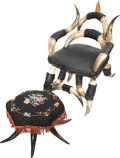 Antiques:Folk Art, Victorian Cow-Horn Child's Chair with Matching Footstool. ...(Total: 2 Items)
