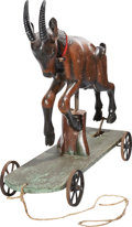 Antiques:Folk Art, Early Twentieth Century Jumping Goat Pull Toy....