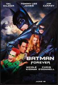 "Batman Forever (Warner Brothers, 1995). One Sheets (3) (27"" X 40"") SS Advance Batman, Robin, and Regular style..."