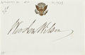 "Autographs:U.S. Presidents, Woodrow Wilson Signature on Card Bearing the Presidential Seal,3.75"" x 2.25"", n.d. The twenty-eighth president's signature ..."