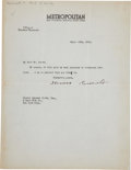 """Autographs:U.S. Presidents, Theodore Roosevelt Typed Letter Signed. One page, 8.5"""" x 11"""", NewYork City, September 20, 1916, on Metropolitan magazin..."""