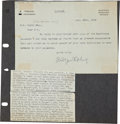 """Autographs:Authors, Rudyard Kipling Typed Letter Signed. One page, 7.5"""" x 5.25"""", n.p., November 12, 1912, marked """"Private"""" to Charles K. Ogd..."""
