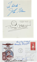 Autographs:Military Figures, Group of 6 Astronaut and Aviation Signatures. Includes a BuzzAldrin Card Signed and a John Glenn Card Signed. Also ... (Total: 3Items)