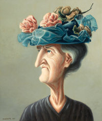 ROGER NORMAN MEDEARIS (American, 1920-2001) The New Hat, 1961 Tempera on board 26 x 22 inches (66