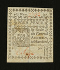 Colonial Notes:Connecticut, Connecticut October 11, 1777 4d Slash Cancel Gem New....