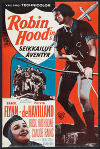 """The Adventures of Robin Hood (Warner Brothers, R-1959). Finnish Poster (16"""" X 23.5""""). Adventure"""