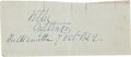 "Autographs:Military Figures, Robert E. Lee Clipped Signature ""R. E. Lee/ Capt.Eng[ineer]/ Fort Hamilton 7 Oct. 1842"". Lee, whograduated fro..."