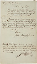"Autographs:Statesmen, John Hancock Document Signed during the Revolutionary War as thefirst governor of Massachusetts. One page, 7"" x 12"", Boston..."
