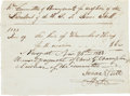 "Autographs:U.S. Presidents, [Andrew Jackson] Receipt for Hire of Coach and Horses. One page, 7""x 5"", Newport, November 25, 1833, specifically for the ""..."