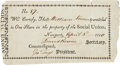 "Autographs:Statesmen, [William Vernon Sr.] Social Union Stock Certificate. Onepartially-printed certificate (No. 87), 6"" x 3.25"", Newport [Rhode..."