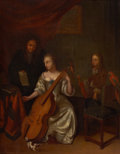 Fine Art - Painting, European:Antique  (Pre 1900), Attributed to CONSTANTYN FRANCKEN (Flemish, 1661-1717). TheMusic Lesson, 1709. Oil on canvas. 16 x 12 inches (40.6 x 30...
