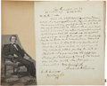 "Autographs:Military Figures, Alexander Stephens Autograph Letter Signed. One page, 8"" x 10"",Crawfordville, Georgia, March 4, 1860, to C. P. Culver[?... (Total:2 Items)"