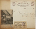 """Autographs:Celebrities, William F. """"Buffalo Bill"""" Cody Autograph Quotation Signed """"W. F. Cody"""". One page, 8.8"""" x 9.75"""", Chicago, 1893, on """"Buf... (Total: 2 Items)"""
