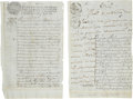 Autographs:Non-American, New Spain: Two Manuscript Documents on Sealed Paper Regarding Wineand Spirits.... (Total: 2 Items)