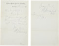 Autographs:Military Figures, Ambrose Burnside Autograph Letter Signed as U.S. Senator, together with his dated signature on a separate sheet. Both are da... (Total: 2 Items)