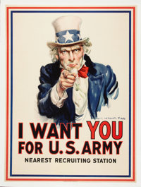 World War I Uncle Sam Patriotic Poster by James Montgomery Flagg, 1917