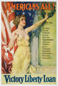 """Military & Patriotic:WWI, World War I Poster: """"Americans All! Victory Liberty Loan"""", HowardChandler Christy, 1919...."""