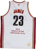Basketball Collectibles:Uniforms, LeBron James Signed UDA Stat Jersey 32/123....