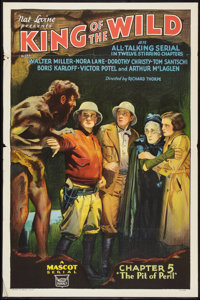 "King of the Wild (Mascot, 1931). One Sheet (27"" X 41"") Chapter 5 -- ""The Pit of Peril."" Flat Folded..."