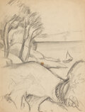 Fine Art - Work on Paper:Drawing, THOMAS HART BENTON (American, 1889-1975). Group of 6 Drawings on6 sheets. Pencil on paper. Ranging in size from 8-1/2 x...