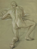 Fine Art - Work on Paper:Drawing, PAUL CADMUS (American, 1904-1999). Reading Nude. Mixed mediaon paper . 22 x 16 inches (55.9 x 40.6 cm). Signed and insc...