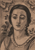 Fine Art - Work on Paper:Print, PROPERTY OF MRS. RUTH CARTER-STEVENSON. HENRI MATISSE (French,1869-1954). Jeune fille aux boucles brun, 1924. Lithogr...