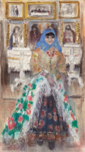 Fine Art - Painting, American:Modern  (1900 1949)  , PROPERTY FROM THE WICHITA CENTER FOR THE ARTS. LEON GASPARD(American, 1882-1964). Russian Girl in the Czar's Chapel....