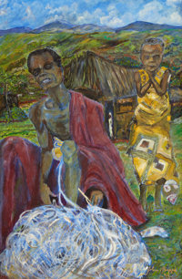 JOHN BIGGERS (American, 1924-2001) Slice of Cotton Harvest, 1995 Oil on canvas 30 x 19-3/4 inches