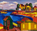 American:Modern, JAN MATULKA (American, 1890-1972). Houses on a Cove, circa 1925. Oil on canvas. 21 x 24-7/8 inches (53.3 x 63.2 cm). Est...
