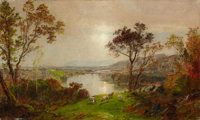 JASPER FRANCIS CROPSEY (American, 1823-1900) Wyoming Valley (Probably, Landscape with Sheep)