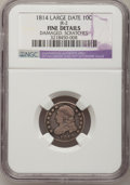 Bust Dimes, 1814 10C Large Date--Scratched, Damaged--F12 NGC Details. F. JR2.NGC Census: (3/150). PCGS Population (5/126). Mintage: 4...