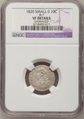 Bust Dimes, 1820 10C Small 0--Damaged--NGC Details. VF. JR-7. NGC Census:(3/208). PCGS Population (5/149). Mintage: 942,587. Numismed...