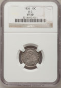 Bust Dimes: , 1836 10C VF30 NGC. JR-2. NGC Census: (2/179). PCGS Population(7/185). Mintage: 1,190,000. Numismedia Wsl. Price for probl...