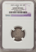 Bust Dimes, 1829 10C Large 10C--Improperly Cleaned--NGC Details. Good. JR-1.NGC Census: (4/249). PCGS Population (2/219). Mintage: 77...